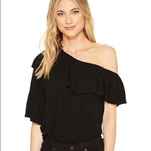Paige Black Pax One Shoulder Ruffle Top  XS NWT